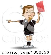 Cartoon White Male Soccer Referee Blowing A Whistle Pointing And Holding A Red Card
