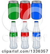 Clipart Of Colorful Aluminum Soda Cans And Glass Bottles Royalty Free Vector Illustration by Liron Peer