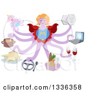 Clipart Of A Purple Octopus Super Mom Balancing Many Things Royalty Free Vector Illustration