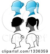 Clipart Of Blue Black And Outlined Female Heads With Buns And Pony Tails Royalty Free Vector Illustration