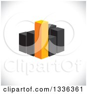 Clipart Of A 3d Block Of Orange And Black City Skyscraper Highrise Buildings Or A Bar Graph Over Shading Royalty Free Vector Illustration by ColorMagic