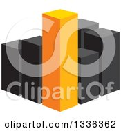 Clipart Of A 3d Block Of Orange And Black City Skyscraper Highrise Buildings Or A Bar Graph Royalty Free Vector Illustration