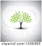 Clipart Of A Black Silhouetted Man Forming The Trunk Of A Tree With Green Leaves Over Shading Royalty Free Vector Illustration