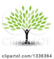 Clipart Of A Black Silhouetted Man Forming The Trunk Of A Tree With Green Leaves With A Shadow Royalty Free Vector Illustration