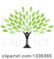 Clipart Of A Black Silhouetted Man Forming The Trunk Of A Tree With Green Leaves Royalty Free Vector Illustration