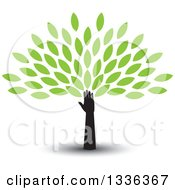 Clipart Of A Silhouetted Hand And Arm With A Shadow Forming The Trunk Of A Tree With Green Spring Leaves Royalty Free Vector Illustration