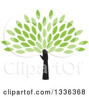 Clipart Of A Silhouetted Hand And Arm Forming The Trunk Of A Tree With Green Spring Leaves Royalty Free Vector Illustration