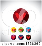 Clipart Of Flat Design Red Hearts And Shadows In Circles Icons Over Shading Royalty Free Vector Illustration