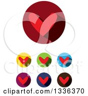 Clipart Of Flat Design Red Hearts And Shadows In Circles Icons Royalty Free Vector Illustration