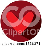 Clipart Of A Flat Design Red Heart And Shadow In A Circle Icon Royalty Free Vector Illustration