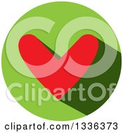 Clipart Of A Flat Design Red Heart And Shadow In A Green Circle Icon Royalty Free Vector Illustration