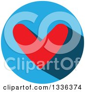 Clipart Of A Flat Design Red Heart And Shadow In A Blue Circle Icon Royalty Free Vector Illustration by ColorMagic