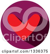 Clipart Of A Flat Design Red Heart And Shadow In A Purple Circle Icon Royalty Free Vector Illustration
