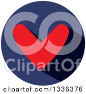 Clipart Of A Flat Design Red Heart And Shadow In A Navy Blue Circle Icon Royalty Free Vector Illustration