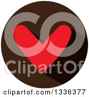 Clipart Of A Flat Design Red Heart And Shadow In A Brown Circle Icon Royalty Free Vector Illustration