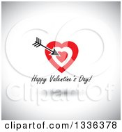 Clipart Of Flat Design Red Hearts With Cupids Arrow Over Happy Valentines Day Text And A Shadow On Shading Royalty Free Vector Illustration