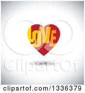 Clipart Of A Flat Design Red Heart With LOVE Text Inside And A Shadow Over Shading Royalty Free Vector Illustration
