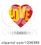 Clipart Of A Flat Design Red Heart With LOVE Text Inside And A Shadow Royalty Free Vector Illustration