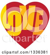 Clipart Of A Flat Design Red Heart With LOVE Text Inside Royalty Free Vector Illustration