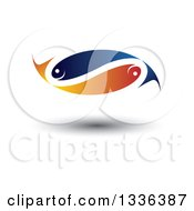 Blue And Orange Pair Of Faith Or Pisces Fish In The Shape Of An Infinity Symbol With A Shadow
