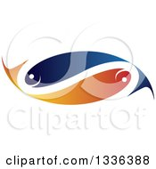 Blue And Orange Pair Of Faith Or Pisces Fish In The Shape Of An Infinity Symbol