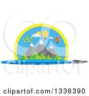 Clipart Of A Flat Design Paintbrush Under A Scene Of Mountains Birds And Hot Air Balloons Royalty Free Vector Illustration