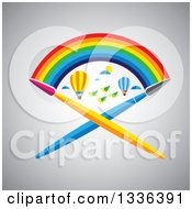 Clipart Of A Flat Design Rainbow Over Hot Air Balloons Birds And Crossed Paint Brushes Over Shading Royalty Free Vector Illustration by ColorMagic