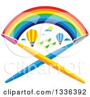 Poster, Art Print Of Flat Design Rainbow Over Hot Air Balloons Birds And Crossed Paint Brushes