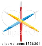 Poster, Art Print Of Flat Design Of Crossed Colorful Artist Paintbrushes