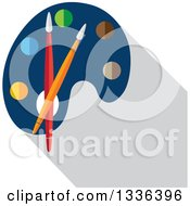 Clipart Of A Flat Design Art Paint Palette With Brushes And A Shadow Royalty Free Vector Illustration by ColorMagic