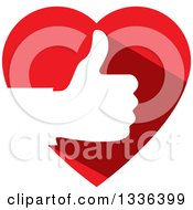 Clipart Of A Flat Design White Silhouetted Thumb Up Hand In A Red Heart Royalty Free Vector Illustration