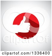 Clipart Of A Flat Design White Silhouetted Thumb Up Hand In A Red Circle Over Shading Royalty Free Vector Illustration by ColorMagic