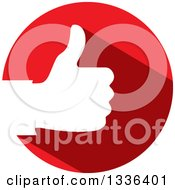 Clipart Of A Flat Design White Silhouetted Thumb Up Hand In A Red Circle Royalty Free Vector Illustration