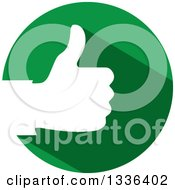 Clipart Of A Flat Design White Silhouetted Thumb Up Hand In A Green Circle Royalty Free Vector Illustration by ColorMagic