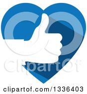 Clipart Of A Flat Design White Silhouetted Thumb Up Hand In A Blue Heart Royalty Free Vector Illustration by ColorMagic