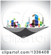 Clipart Of A City Street With Colorful Urban Buildings Over Shading Royalty Free Vector Illustration by ColorMagic