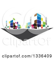 Clipart Of A City Street With Colorful Urban Buildings Royalty Free Vector Illustration