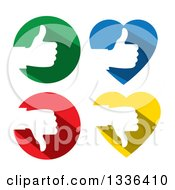 Clipart Of Flat Design White Silhouetted Thumb Up And Down Hands In Colorful Hearts And Circles Royalty Free Vector Illustration by ColorMagic