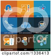 Clipart Of Flat Style SEO Internet Marketing Icons Royalty Free Vector Illustration by ColorMagic