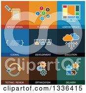 Clipart Of Flat Style Website Optimization Icons Royalty Free Vector Illustration