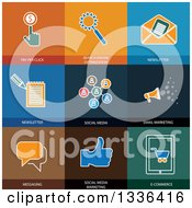 Clipart Of Flat Style Social Media And Seo Icons Royalty Free Vector Illustration by ColorMagic