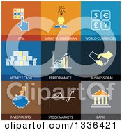 Clipart Of Flat Style Finance Icons Royalty Free Vector Illustration