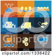 Clipart Of Flat Style Sale And Service Business Management Icons Royalty Free Vector Illustration