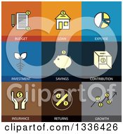 Clipart Of Flat Style Financial Icons Royalty Free Vector Illustration