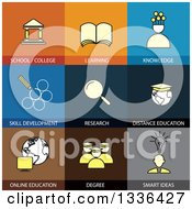 Clipart Of Flat Style School And Education Icons Royalty Free Vector Illustration