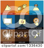 Clipart Of Flat Style Art And Virtual Reality Icons Royalty Free Vector Illustration by ColorMagic