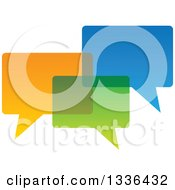 Clipart Of Three Colorful Speech Chat Balloons Overlapping Royalty Free Vector Illustration