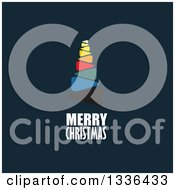 Clipart Of A Colorful Flat Design Tree With Merry Christmas Text On Dark Blue Royalty Free Vector Illustration