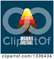 Clipart Of A Flat Design Colorful Tree With Merry Christmas Text On Dark Blue Royalty Free Vector Illustration