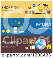 Clipart Of Flat Style Online Shopping And Business Icon Banners Royalty Free Vector Illustration